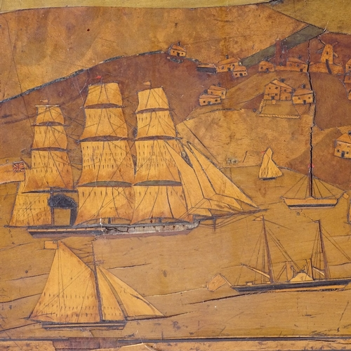119 - A specimen wood sailor's marquetry picture, depicting a busy harbour scene with steam and sail ships...