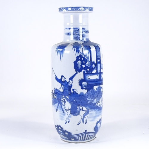 121 - A Chinese blue and white porcelain cylinder vase, hand painted figures on horseback, height 46cm...
