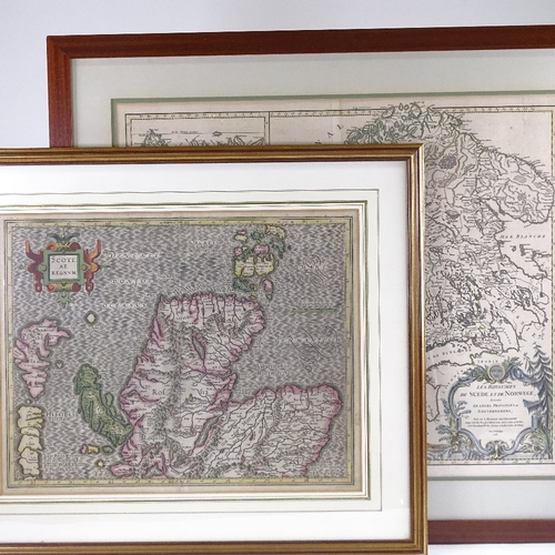129 - 2 early maps, Scotiae Regnum by G Mercator, 1620 - 1640, image 35cm x 45cm, and Sweden and Norway, b...