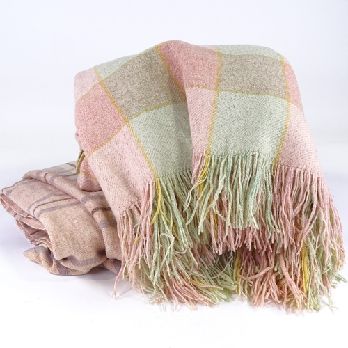 140 - 2 Vintage Welsh wool blankets, pink lavender cream and brown, 210cm x 170cm, pink and green with fri...