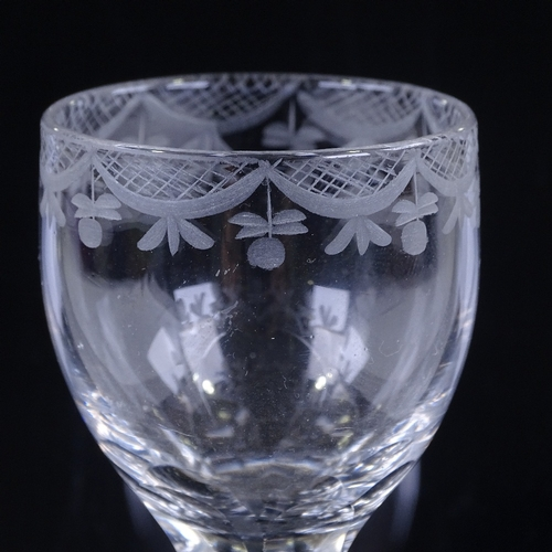 142 - An 18th century cordial glass, with wheel-cut bowl and panel-cut stem, height 16cm...