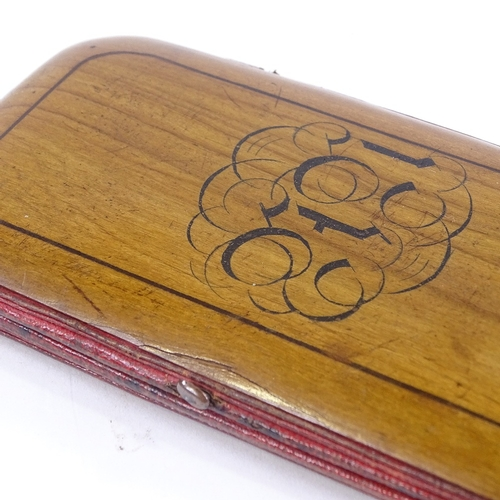 153 - A 19th century Sorrento Ware spectacle/card case, with marquetry inlaid lid, length 14cm...