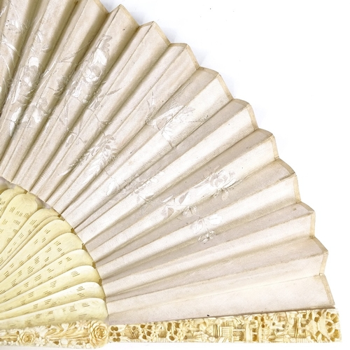16 - 19th century Cantonese ivory fan, fine relief carved ends with pierced and carved sticks, and dragon...