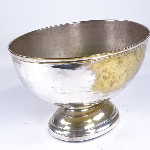 160 - A silver plated Champagne bath, inscribed Champagne De Venoge Epernay, 36cm across, height 24.5cm, (...