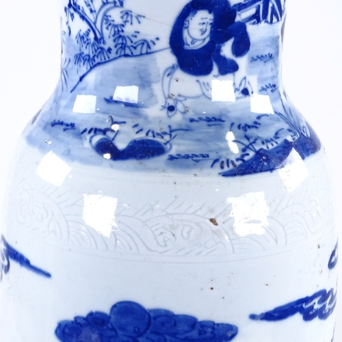 167 - A Chinese blue and white porcelain sleeve vase, hand painted decoration, figures in gardens, height ...
