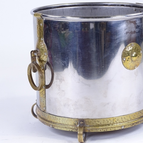 170 - An Arts and Crafts white metal and brass-mounted wine cooler, with brass ring handles, circa 1900, d...