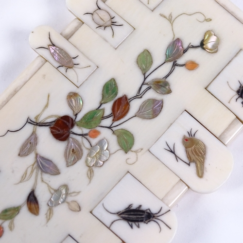 182 - A pair of Japanese ivory and Shibayama Bezique markers, inlaid mother-of-pearl and hardstone insects...