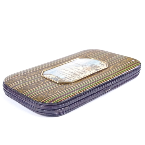 185 - A mid-19th century papier mache spectacle case, the colourful banded cover having an inset miniature...