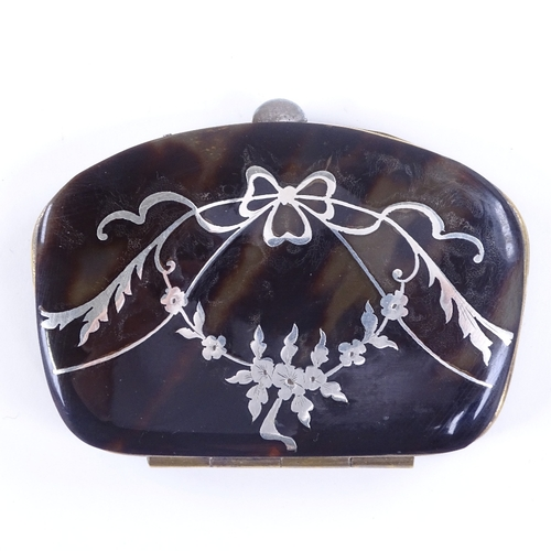 191 - A Victorian tortoiseshell and silver marquetry inlaid purse with plated mount, 7cm across...