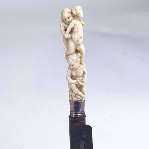 198 - A George III knife with carved ivory cherub design handle, length 18cm...