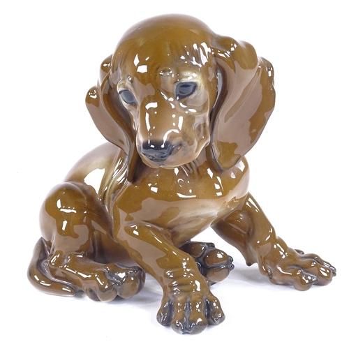 2 - Rosenthal porcelain puppy, signed T Kamer, height 14cm...