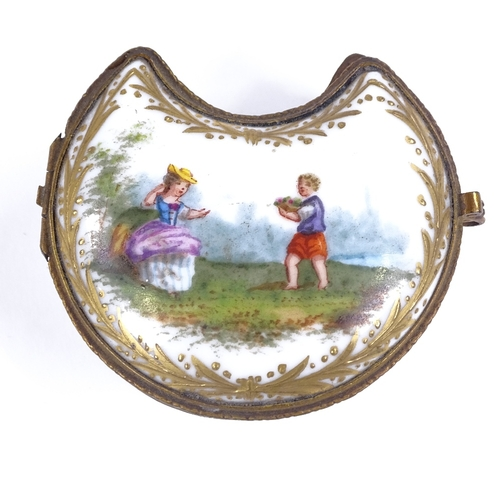 214 - A miniature German porcelain crescent-shaped trinket box, with painted and gilded decoration, 6cm ac...