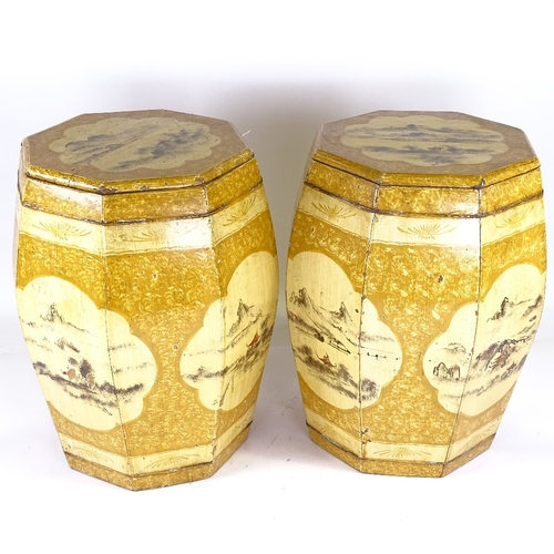 223 - A pair of Chinese painted wood barrel seats, height 45cm...
