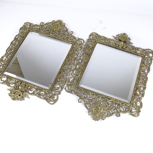 226 - A pair of Victorian cast brass-framed wall mirrors, pierced and embossed acanthus decorated frames, ...