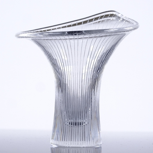 240 - Tapio Wirkkala for Iittala Finland, Kantarelli vase, line cut glass, 1957, signed, height 8.5cm...