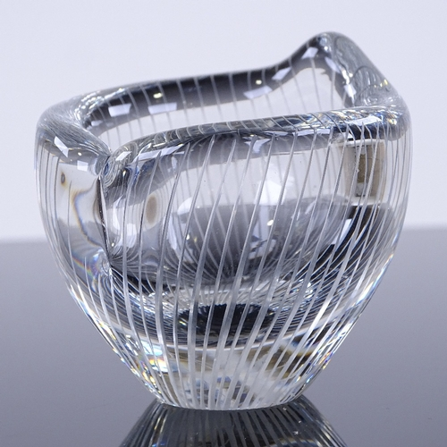 241 - Tapio Wirkkala for Iittala Finland, line cut-glass bowl, circa 1950s, signed, height 6cm, diameter 7...