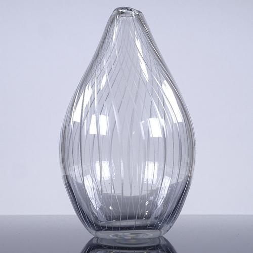 242 - Tapio Wirkkala for Iittala Finland, Onion vase, line cut glass, 1958, signed, height 13cm...