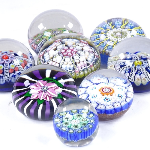 245 - 8 various Millefiori and flower design glass paperweights, largest 7.5cm diameter (8)...