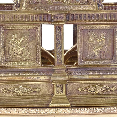 247 - A good quality Victorian relief cast gilt-bronze letter rack, length 22cm...