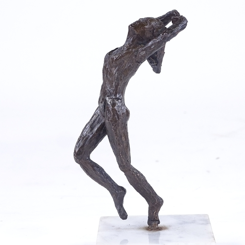 248 - A mid-20th century patinated bronze sculpture, ballet dancer, unsigned, on white marble base, overal...