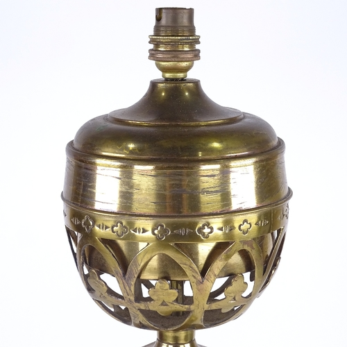 257 - A brass oil lamp converted to electric, with fluted column, height excluding fitting 60cm...