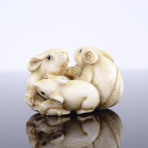 271 - A 19th century Japanese ivory netsuke, depicting 3 rats, 4cm across...
