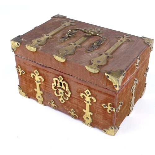 28 - A Victorian brass-bound velvet covered jewel casket, with brass carrying handle, width 21cm...
