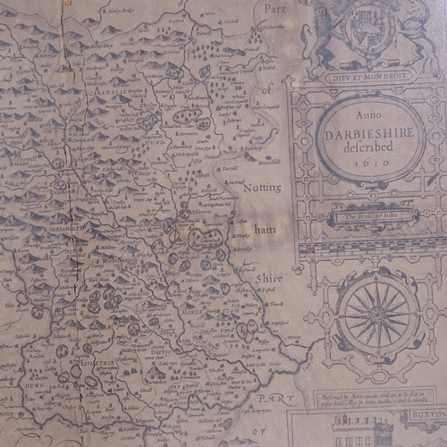 287 - An Antique map engraving of Salopiae, by Christopher Saxton, image 27cm x 34cm, and a map of Darbies...