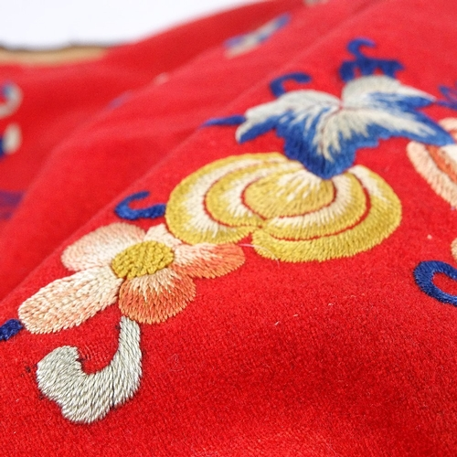 293 - A Chinese embroidered textile panel...