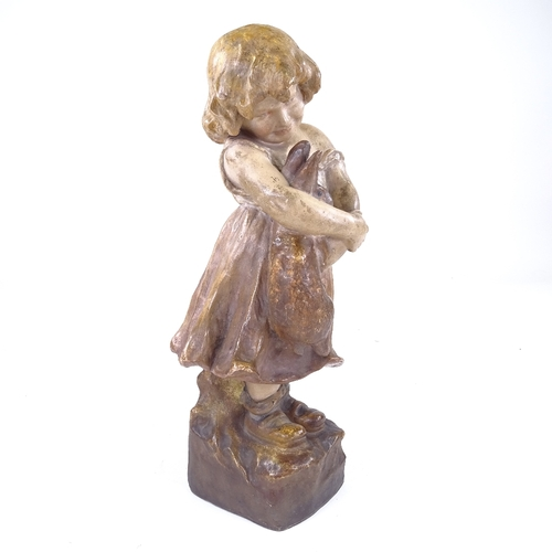 299 - GOLDSCHEIDER - pottery bust of a child holding a rabbit, signed E Tell, height 37cm...