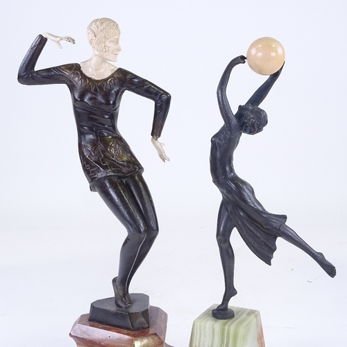 301 - 2 Art Deco style patinated bronze dancing figures on onyx and marble bases, largest height 36cm...