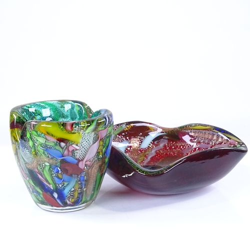 305 - 2 Murano Studio glass items, vase height 9cm, bowl 13.5cm across...
