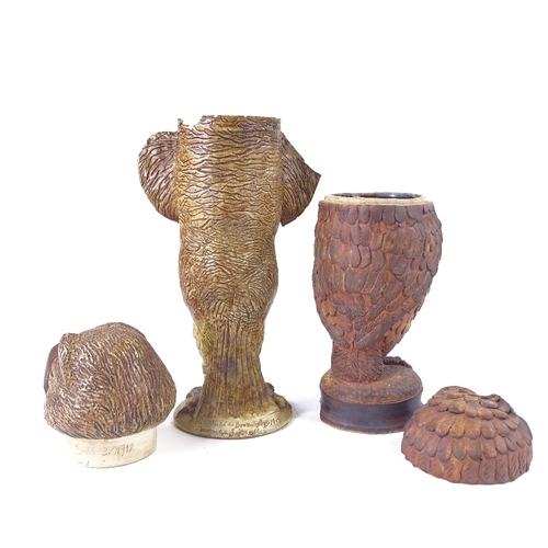 31 - 2 mid-20th century handmade Studio pottery grotesque bird design jars and covers, in the style of Ma...