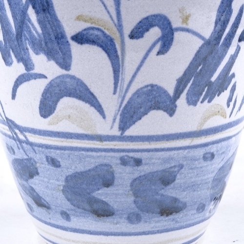 320 - British Studio pottery vase with hand painted blue and white decoration, unsigned, height 26cm...
