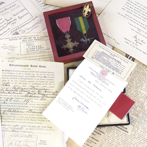 33 - An OBE and Scout medal awarded to John Ramsay in 1950, with original leather case and associated eph...