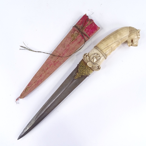 34 - A Middle Eastern dagger, 18th or 19th century, the carved ivory handle having a leopard's head pomme...