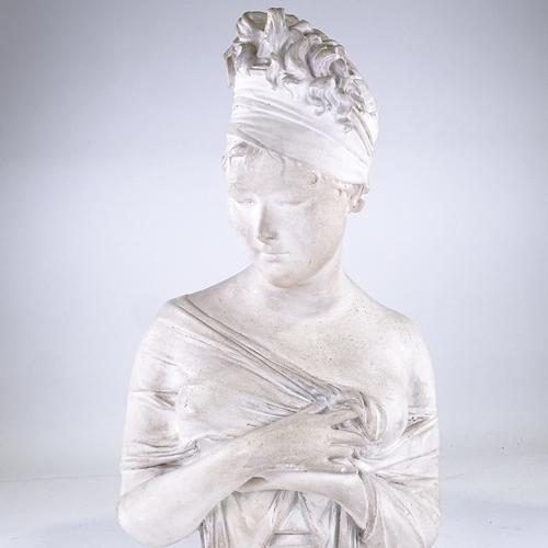 342 - A ceramic/plaster bust of Madame Recamier, height 64cm...