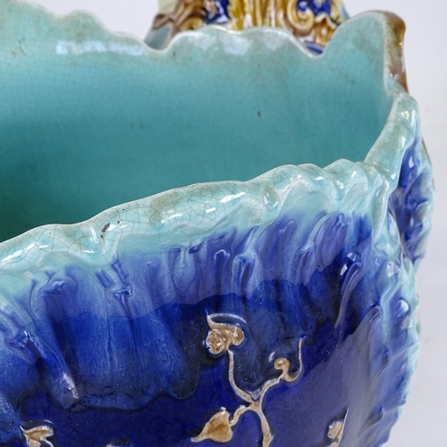 344 - A Majolica Pottery jardiniere on pedestal, no factory marks, overall height 84cm...