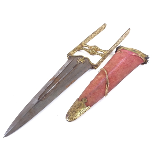 35 - A Middle Eastern katar knife, 18th or 19th century, elaborate gold damascene handle, with ridged gil...