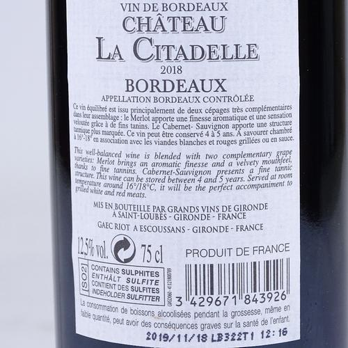 354 - 7 bottles of Bordeuax, Chat Le Citadel 2018, and 1 Pavillon De Montamart (8)...
