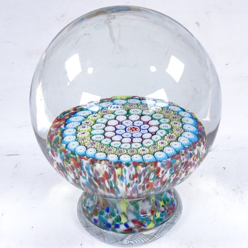 371 - A large 20th century Millefiori paperweight on glass base, height 14cm, diameter approx 11cm...