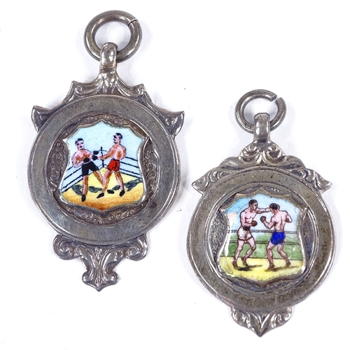 372 - 2 silver and enamel boxing medallion fobs, hallmarks 1935 and 1937...