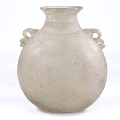 375 - A large Venetian iridescent glass moon-shaped flask, circa 1900, height 27cm...