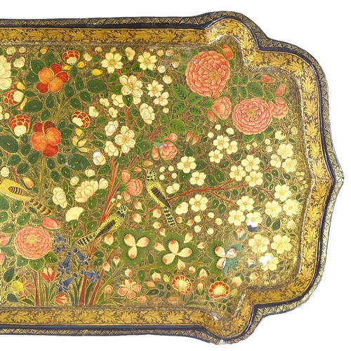 4 - A 19th century Indian Kashmir papier mache tray, with detailed hand painted and gilded exotic birds ...