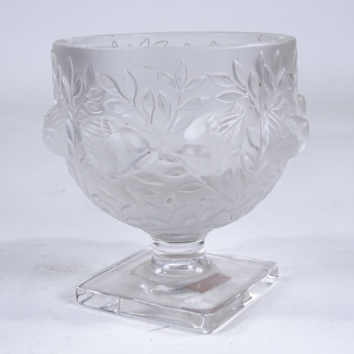 41 - LALIQUE - Bagatelle frosted glass bowl, relief moulded bird decoration on square base, height 13cm, ...