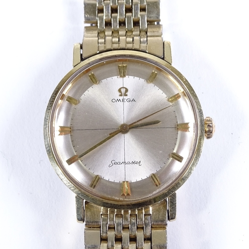 422 - OMEGA - a Vintage gold plated Seamaster mechanical wristwatch, silvered crosshair dial with gilt arr...
