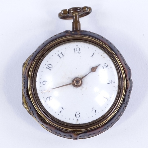 424 - An early 18th century blonde tortoiseshell and gilt metal pair-cased key-wind Verge pocket watch, by...