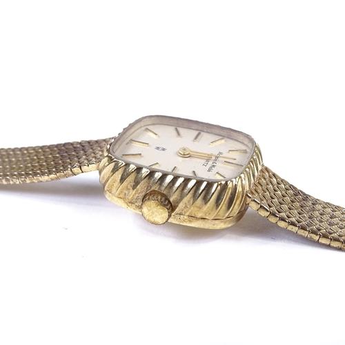 428 - MAPPIN & WEBB - a lady's Vintage 9ct gold quartz wristwatch, circa 1981, silvered dial with gilt bat...