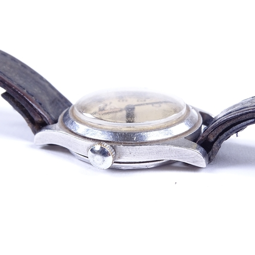 433 - ENICAR - a Vintage stainless steel military issue mechanical wristwatch, silvered dial with Arabic n...