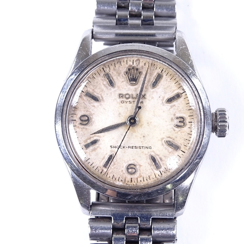 434 - ROLEX - a Vintage stainless steel Oyster Shock-Resisting mechanical wristwatch, ref. 6244, circa 195...